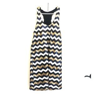 NWT Black/Gold/White Sequence Dress